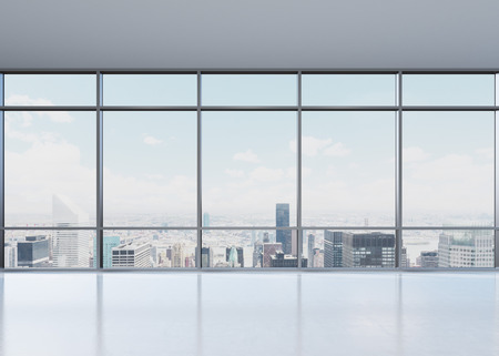 white window: view of city from wide window, 3D rendering