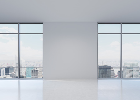 white office with big two windows, 3d render Stock Photo