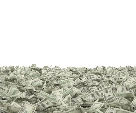 vele honderd dollarbiljetten vallen op een witte achtergrond Stockfoto