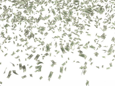 many hundred dollar bills falling on white background