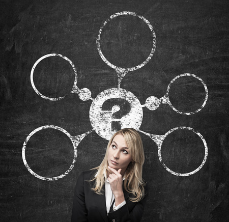 thinking icon: woman dreams about problem scheme, close up Stock Photo
