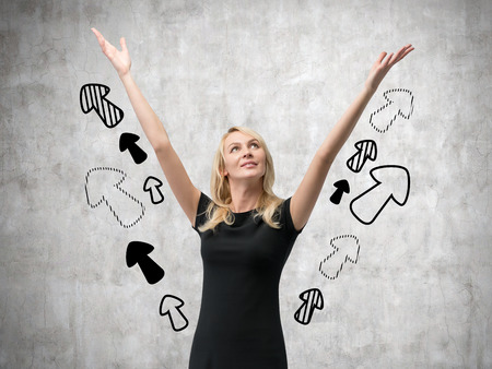 drawing arrow: woman with hands and drawing arrow up Stock Photo