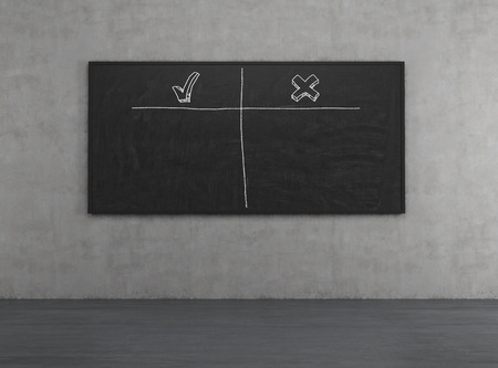 disadvantages: blackboard in room with advantages and disadvantages Stock Photo