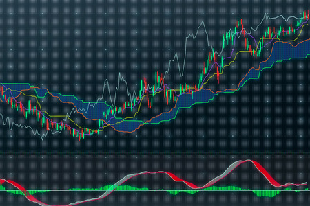 market analyze: color chart on virtual screen, close up