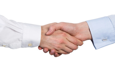 Handshake business: handshake on a white background