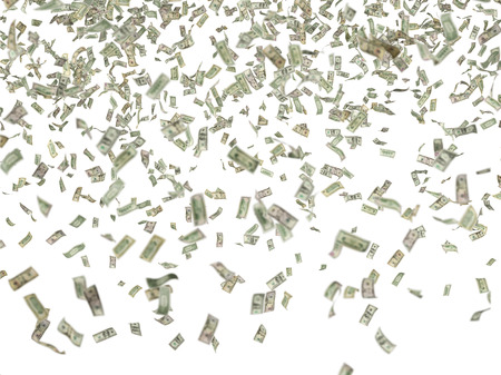 person falling: many hundred dollar bills falling on white background
