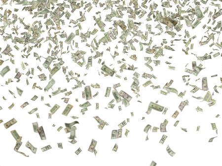 heap of dollar: many hundred dollar bills falling on white background