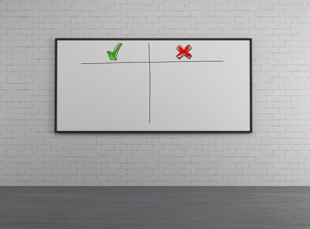 disadvantages: placard on wall with advantages and disadvantages Stock Photo