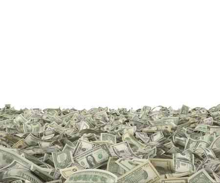 dolar: muchos billetes de cien dólares en el fondo blanco Foto de archivo