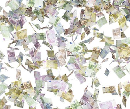 five hundred euro bills falling on white background photo