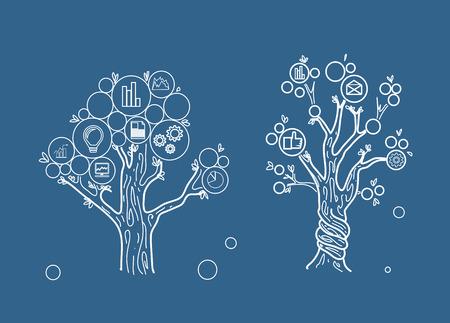 diagrama de arbol: dibujo de dos árboles de negocios sobre fondo azul
