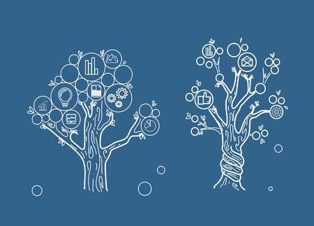 tree graphic: drawing two business tree on blue background Illustration