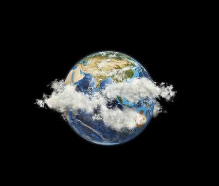 Planet among clouds. Elements of this image furnished by NASA. photo
