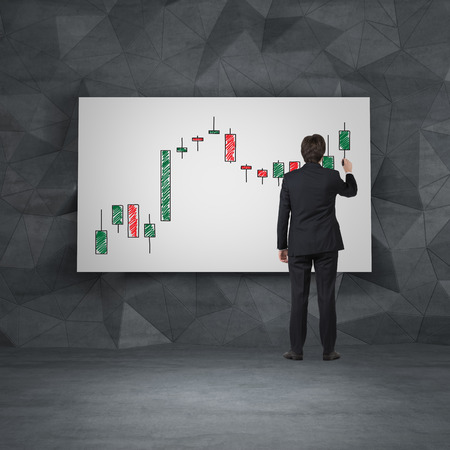 gripping bars: businessman drawing candlestick chart on placard