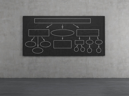 algorithmic: blackboard on a concrete wall with drawing algorithm Stock Photo