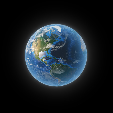 south space: Earth from space showing North and South America.  Stock Photo