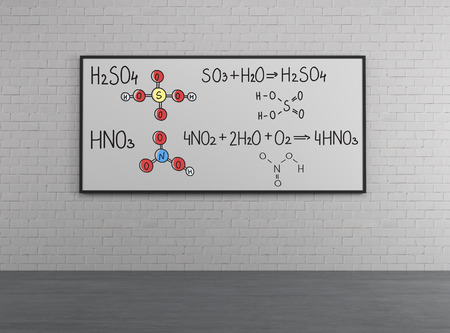 chemical structure: Whiteboard with chemical structure of Sulfuric acid (H2SO4) and Nitric acid (HNO3)