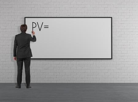 pv: Businessman drawing PV on deck