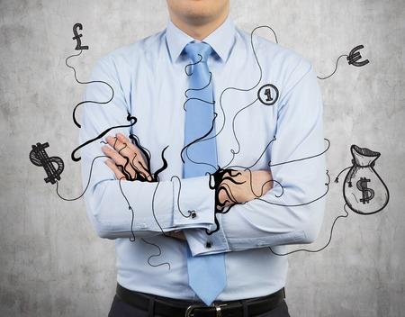 enveloped: businessman enveloped business icon and symbols