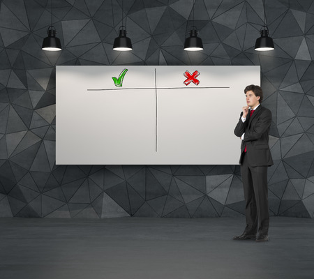 disadvantages: businessman thinking and blackboard with advantages and disadvantages
