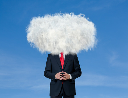 persuasion: Businessman with white cloud on his head on blue