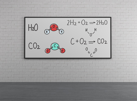 Chemical elements H2SO4, HNO3 on white placard photo