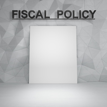 fiscal: Concrete room with white board and  fiscal policy text