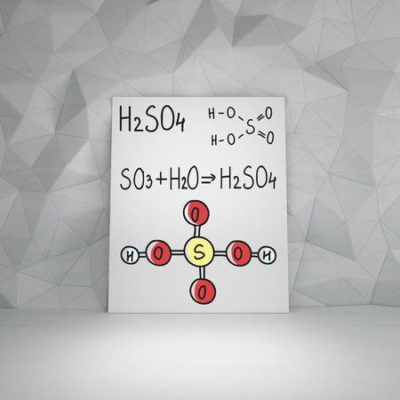 Chemical elements H2SO4, HNO3 on white board photo