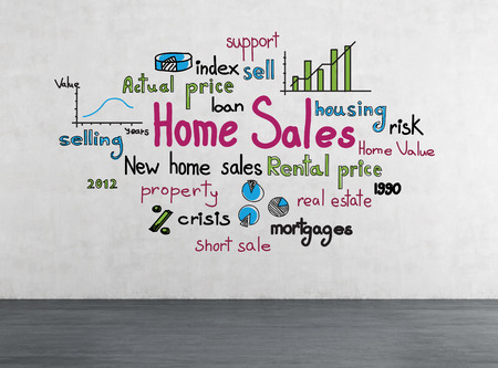 drawing home sales concept on concrete wall photo