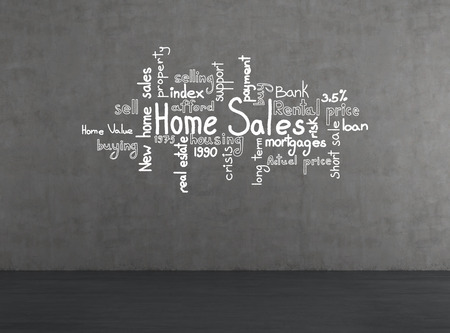 drawing home sales concept on gray wall photo