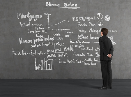 Businessman looking at home sales drawing on wall photo