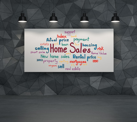 drawing home sales concept on poster photo
