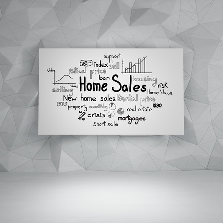 drawing home sales concept on placard photo