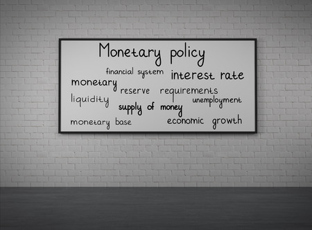 monetary policy: monetary policy drawing on desk, close up Stock Photo