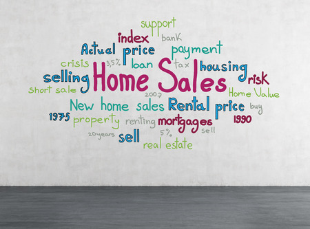 drawing home sales concept on white wall photo