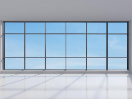 Büro mit großen Fenstern mit Blick auf die Stadt, 3d render