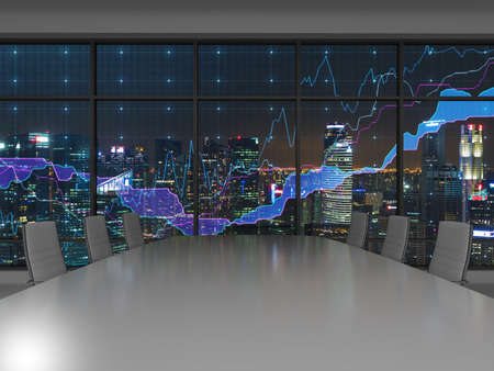 financial: night office interior and chart in window