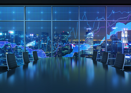 financial graph: night office interior and graph in window
