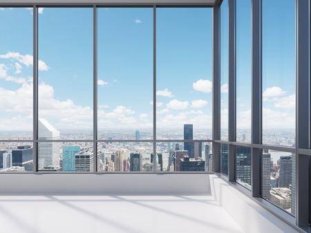 uvnitř: kancelář s velkým oknem, 3d render