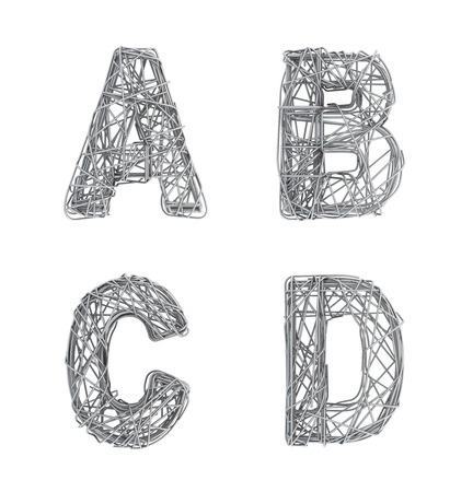 d data: Alphabet of gray wire, font, letters A B C D