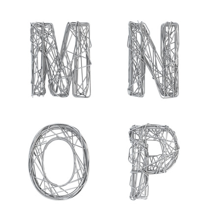 cable knit: Alphabet of gray wire, font, letters M N O P Stock Photo