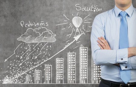 problem solution: businessman and drawing problem and solution concept Stock Photo