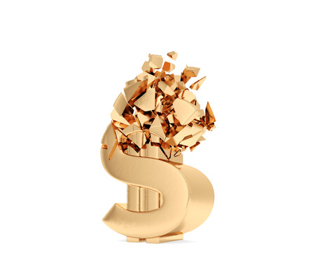 crush on: aplastar el s�mbolo del d�lar de oro sobre un fondo blanco