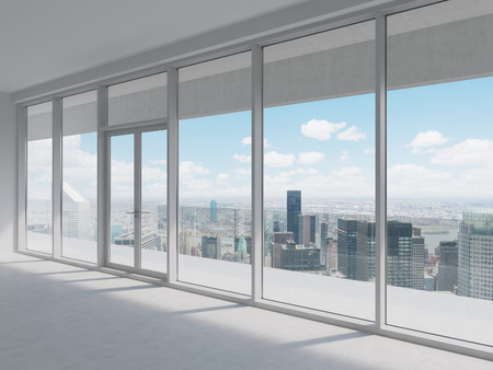 office with big window with view to skyscraper 스톡 콘텐츠