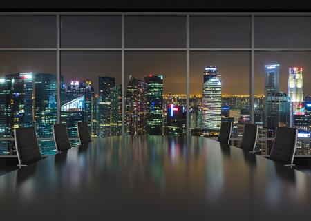 ventanas: interior de la oficina la noche con mesa y silla Foto de archivo