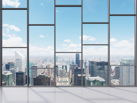office equipment: office with big window with view to city, 3d render Stock Photo