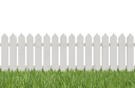 흰색 울타리와 푸른 잔디, 3d 렌더링