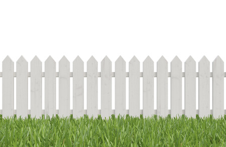 front or back yard: white fence and green grass, 3d render Stock Photo
