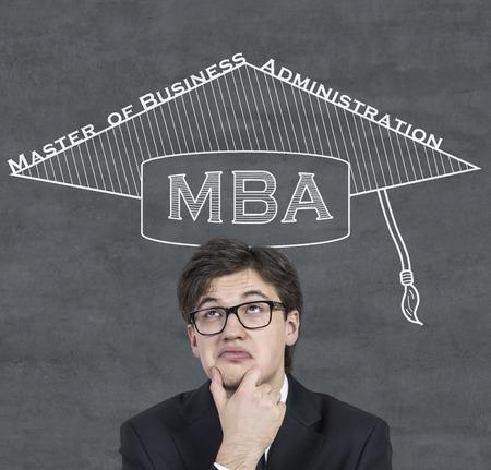 alumnus: businessman in drawing hat Bachelor thinking