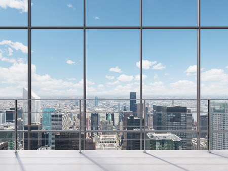 modern office work place with view to city Archivio Fotografico
